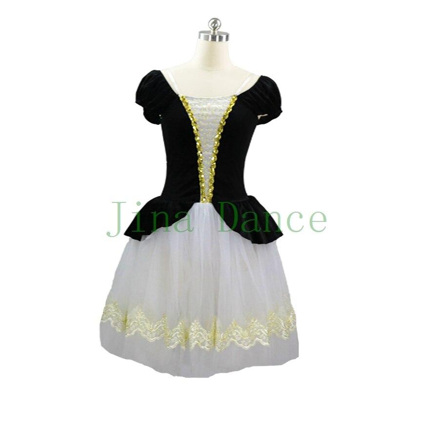 Coppelia Ballet scène danse Costume Tutu robe enfant Performance Giselle noir Ballet robe fille danse lyrique costume