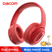 Dacom Dual Drivers Over Ear Noise Cancelling Mobile Headphones Super Bass Wireless Wired Headphone 5.0 Bluetooth Earphone Mic dacom l02 dual drivers neckband running bluetooth headphone 4 1 ipx5 waterproof stereo cvc noise cancelling wireless earphones