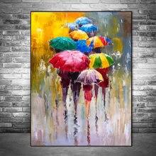 Abstracto retrato quadros a óleo impressão em tela impressão a óleo menina segurando um guarda-chuva arte da parede fotos decoração casa
