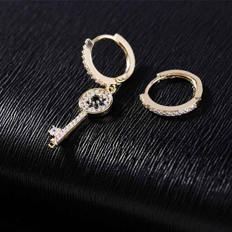 MIGGA asymétrique mauvais œil clé boucles d'oreilles goutte couleur or Micro pavé cubique Zircon boucles d'oreilles pour les femmes