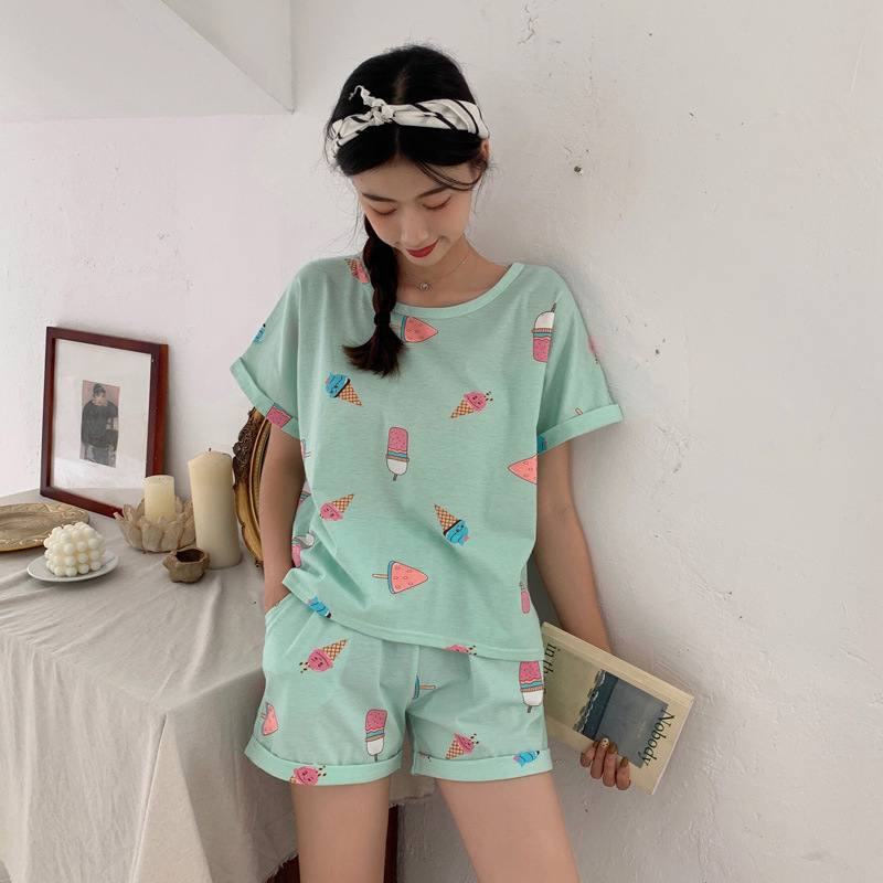 Summer Knit Cotton Pajamas Korean-style Loose-Fit Fresh Students Short Sleeve Shorts Summer-Outer Wear Women's Home Wear