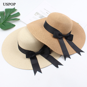 Image 2 - USPOP 2020 ผู้หญิงฟางหมวกหมวกหญิงกว้างBrimหมวกชายหาดหมวกฤดูร้อนป้องกันUv Straw Sunหมวก