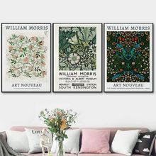 Affiche sur toile imprimée de William Morris, affiche d'exposition du musée Victoria et malt, peinture à motifs floraux, décor mural de maison