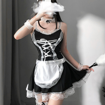 Cute Maid COS Lace-up Dress Bunny Sexy Ruffle Maid Outfit Japanese Girl Cosplay Costumes Daily Apron Uniform Kawaii Nightdress 1