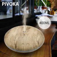 PIVOKA 400ml USB Aroma Ätherisches Öl Diffusor Ultraschall-luftbefeuchter mit Holzmaserung Led-leuchten Difusor Aromaterapia für Hause