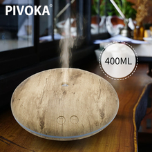 PIVOKA 400ml USB Aroma Essential Oil Diffuser Ultrasonic Air Humidifier with Wood Grain LED Lights Difusor Aromaterapia for Home