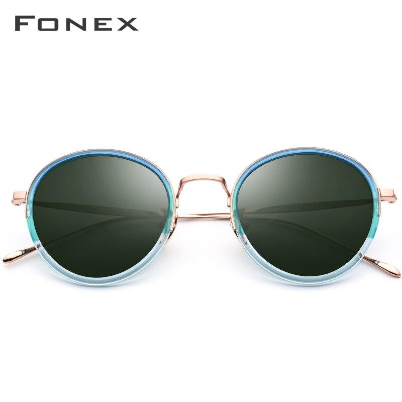 FONEX B Titanium Acetate Polarized Sunglasses Women Vintage Round Sunglass Men Retro Mirrored High Quality Sun Glasses T853