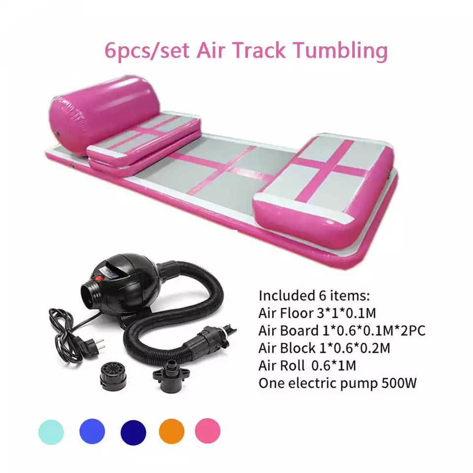 Free Shipping A Set (6 Pieces) Gymnastics Mat Inflatable Air Track Tumbling Mat Gym Air Mat Floor For Sale