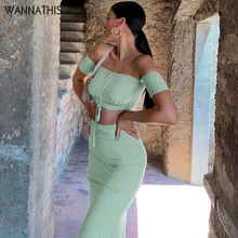 WannaThis Off Shoulder Sexy Women 2 pieces sets Crop and Knee-Length Skirt Drawstring Skinny Backless Slash Neck Split Solid Set