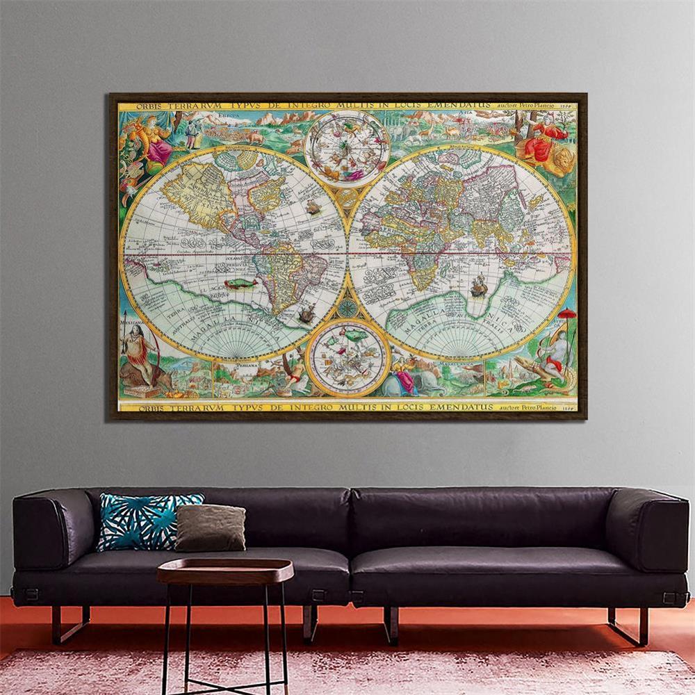150x225cm Orbis Terrarvm Typvs De Integro Multis In Locis Emendatus 1594 Non-woven World Map Retro Map For School And Learner