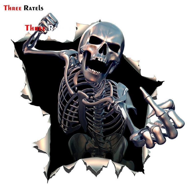 Three Ratels ALWW202-13 #15x15cm Metal Angry Skeleton Skull Skeleton With Beard Premium Funny Auto Sticker Decals Car Sticker
