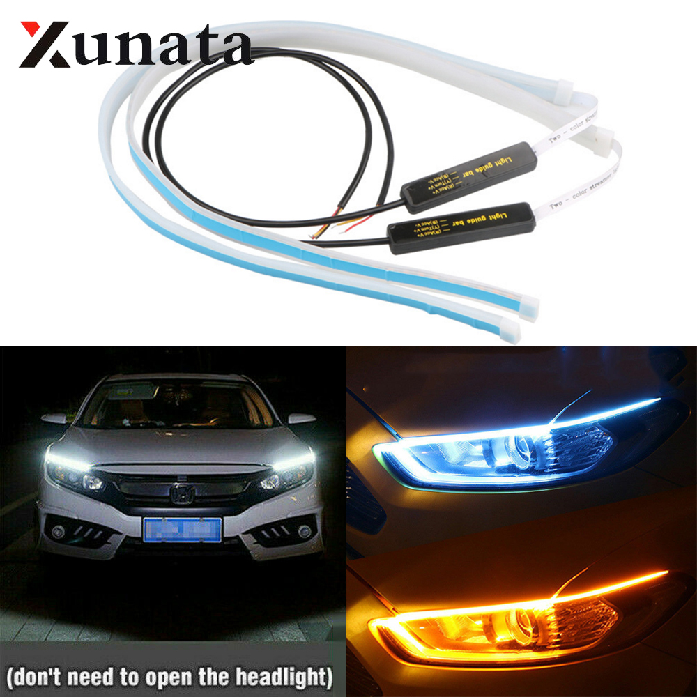 2x Ultrafine Cars DRL LED Daytime Running Lights White Turn Signal Yellow Guide Strip For Headlight Assembly