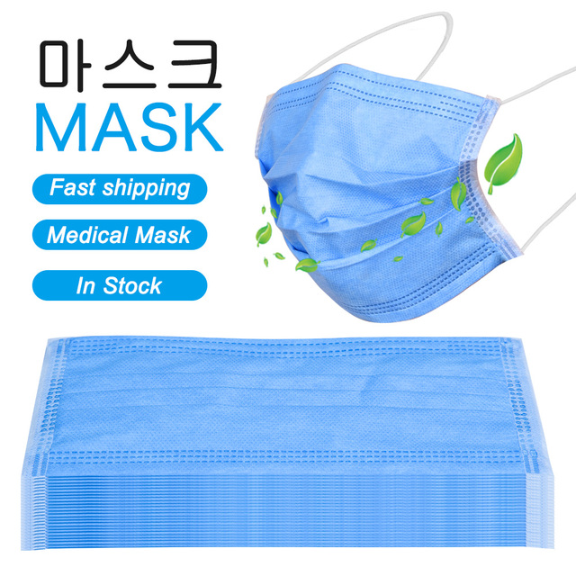In Stock Fast shipping Medical Mask Anti Flu Safe Face Masks Mouth Cover Non-woven Disposable Earloops Adult Surgical Mask Blue