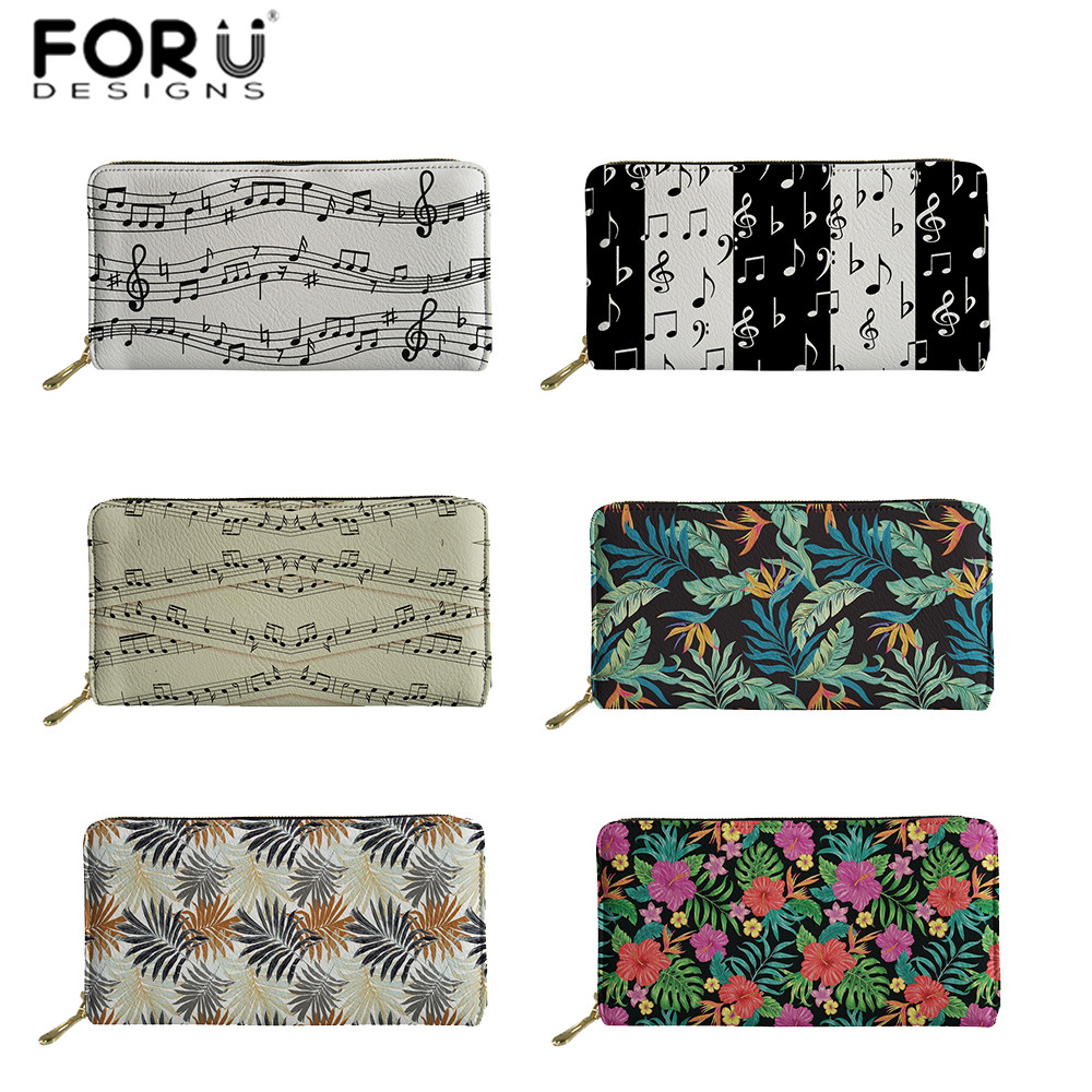 FORUDESIGNS Women Girls Purse Music Notes/Tropic Leaves Print Femme Card Phone Coin Holder Bags Lady Clutch PU Wallet Carteira