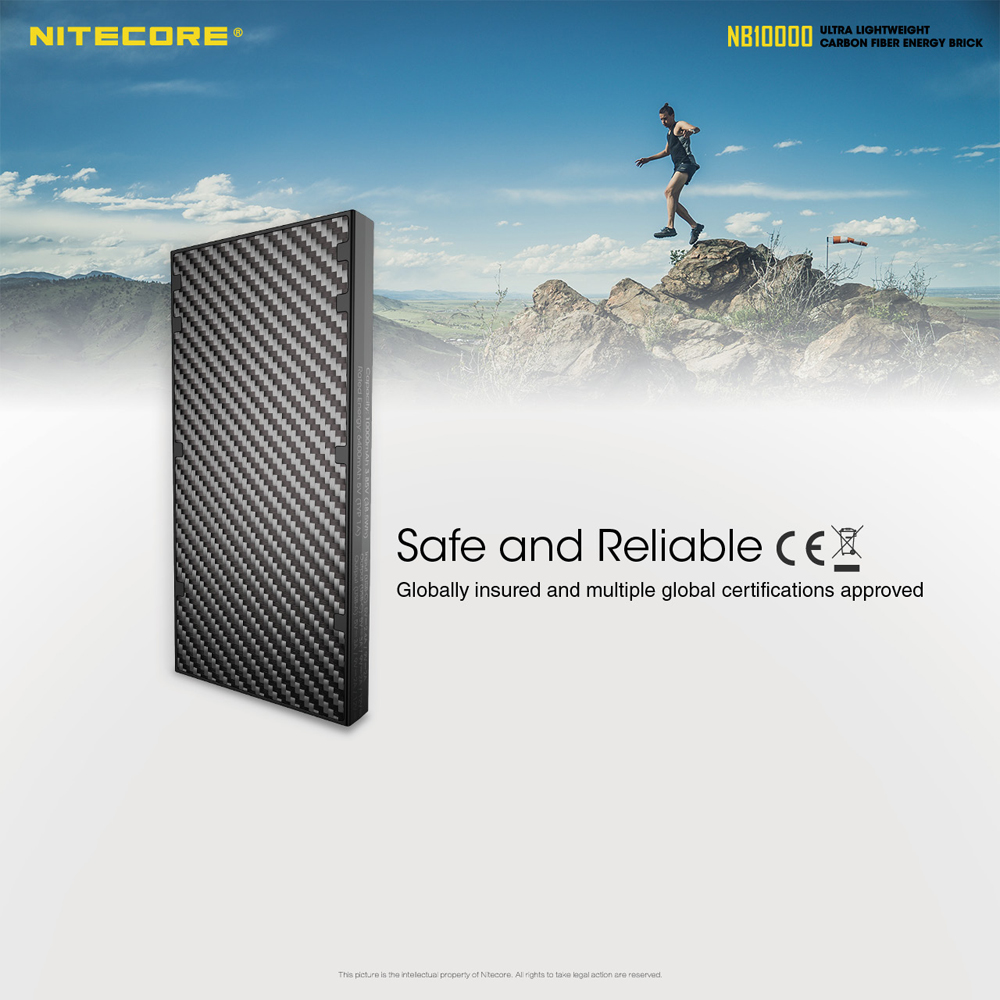 Ultra Lightweight Carbon Fiber Energy Brick NITECORE NB10000 Charger Compact 10000mAh Mobile Power Bank