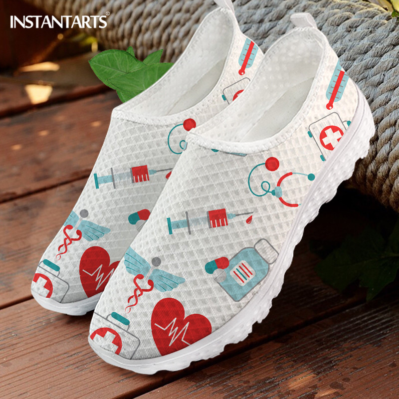 INSTANTARTS Heart Health Cartoon Pattern Women Flats Shoes Slip On Casual Summer Mesh Sneaker Nursing Shoes Girls Mujer Zapatos