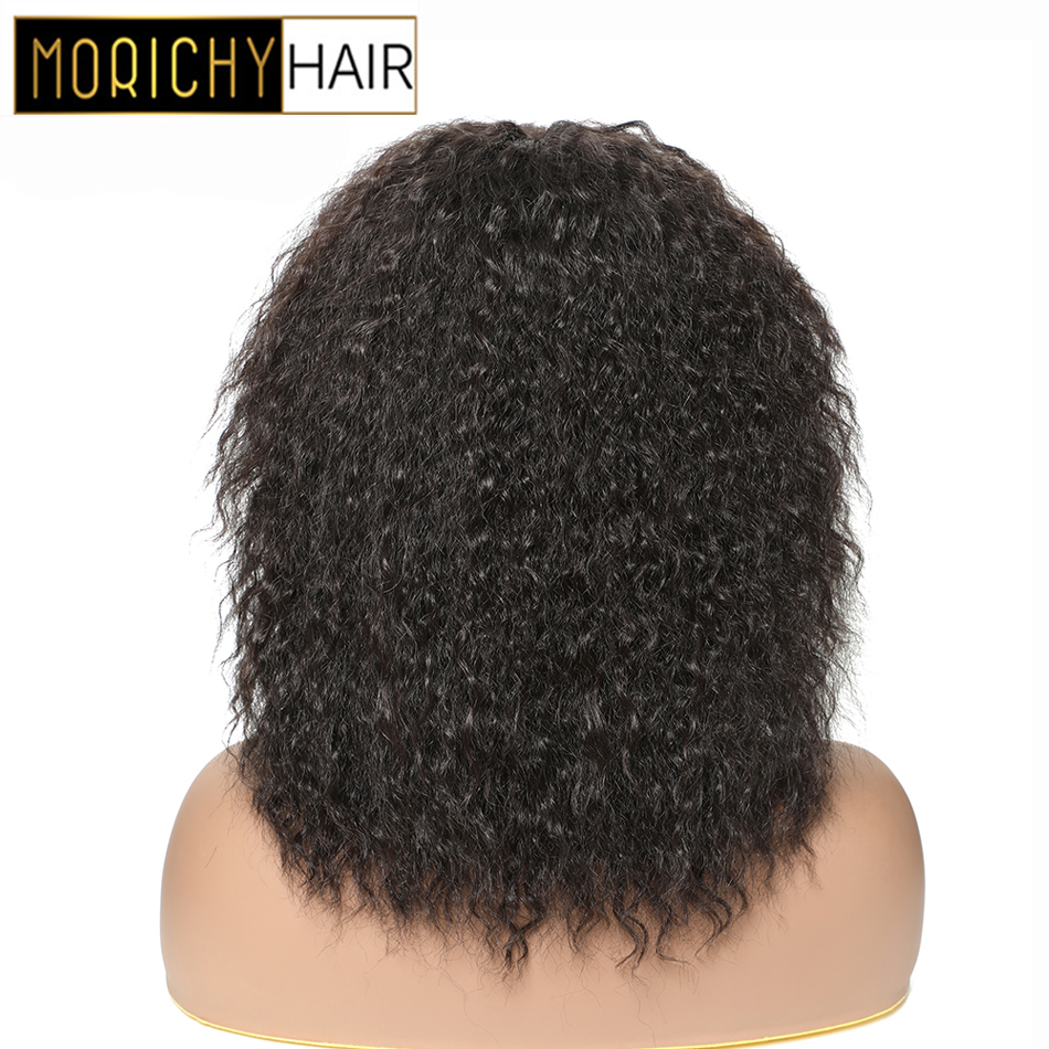 MORICHY Human Hair Afro Kinky Curly Bob Wigs Full Machine Made Wig Dramatic Curls Natural Black Non-Remy Human Hair For Women