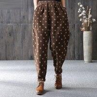 Autumn New Arrival Women Elastic Waist Dot print Corduroy Harem Pants all matched Casual Loose Pants Plus Size Trousers D466