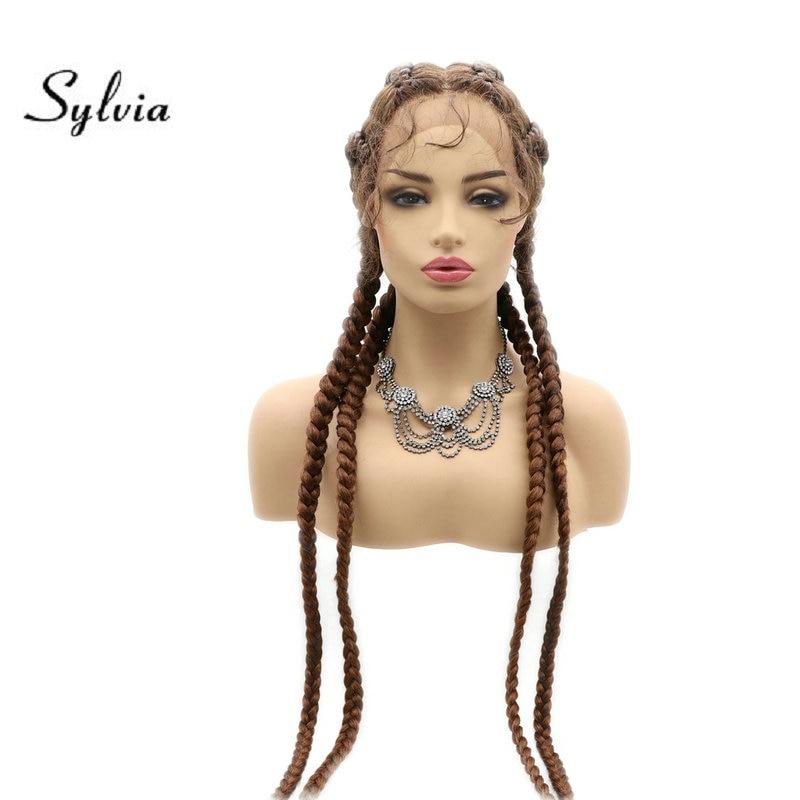 Sylvia mista marrom loira caixa sintética trança perucas da parte dianteira do laço com o cabelo do bebê torção perucas do laço para as mulheres cornrow 4 tranças peruca