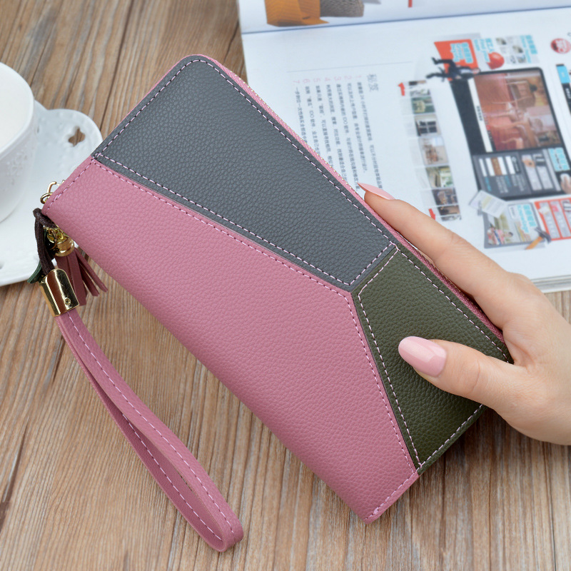 Women Wallet Tassel Long Leather Clutch Wallets Brand Fashion PU Leather Large Capacity Patchwork Section Zipper Wallet Female