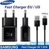 Samsung-cargador rápido 9V1.67A para S10, S8, S9 Plus, adaptador de viaje, Cable tipo C de 120cm para Samsung Note 10, 9, 8, 7, A50, A70