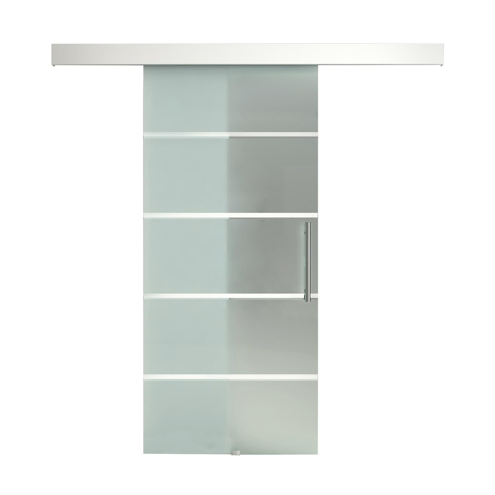 HOMCOM Frosted Glass Sliding Door Track Silent Handle Interior 200 × 213cm