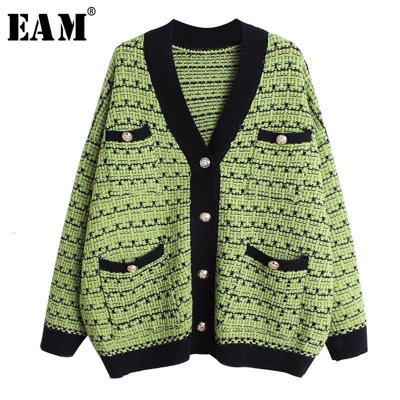 [EAM] Pocket Multicolor Big Size Knitting Sweater Cardigan Loose Fit V-Neck Long Sleeve Women Fashion Autumn Winter 2019 1D383