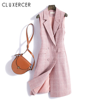 Korea Style Pink Plaid Vest Women Elegant Double Breasted Sleeveless Waistcoat Fashion Office Lady Vest Jacket Female Outwear