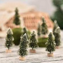 12Pcs New Year Tree Christmas Mini Sisal Snow Frost Little with Wooden Base for Table Xmas Home Decoration