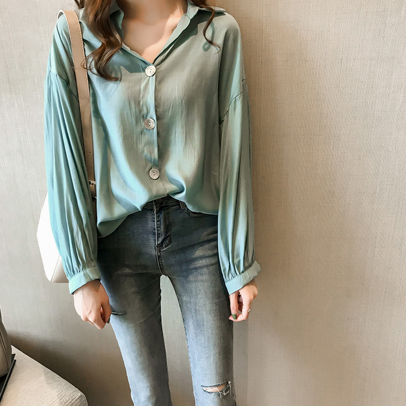 2020 Summer New Fashion Solid color Button Lapel Long Sleeve Blouse Splicing Pockets Thin Large Size Sunscreen Shirt Woman