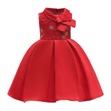 Girls Dress red Christmas Children Evening Party Costume Kids Dresses For Princess Wedding Gown