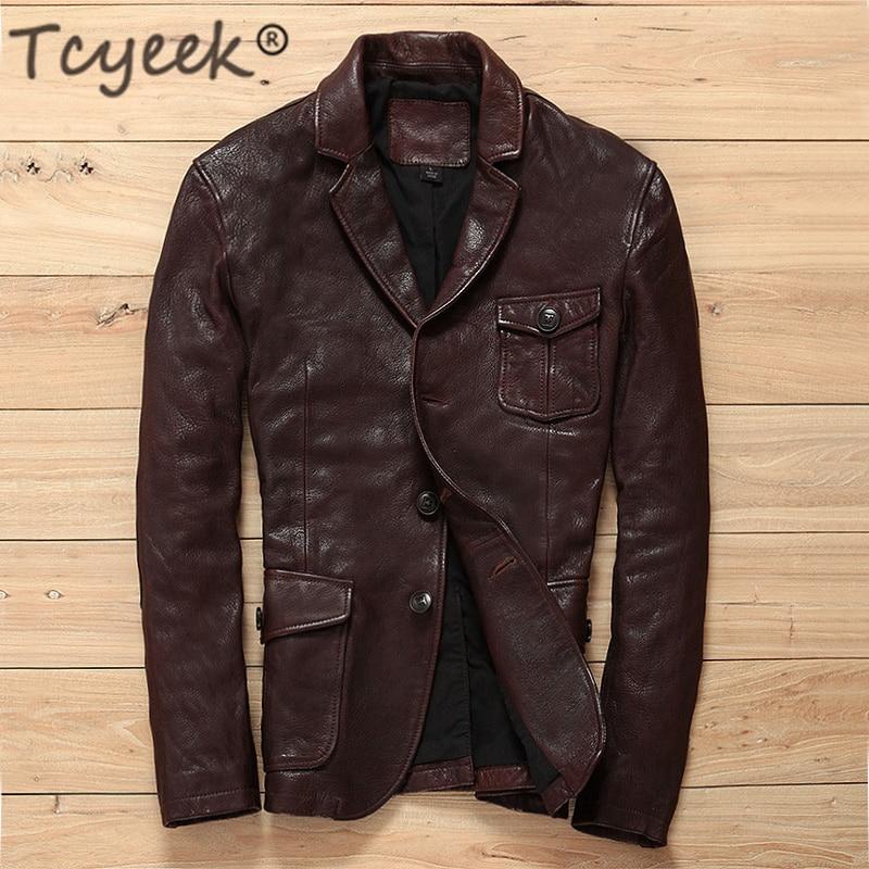 Tcyeek 100% Genuine Leather Jacket Men Real Leather Bomber Jackets Streetwear Winter Spring Business Casual Sheepskin Coat W3265