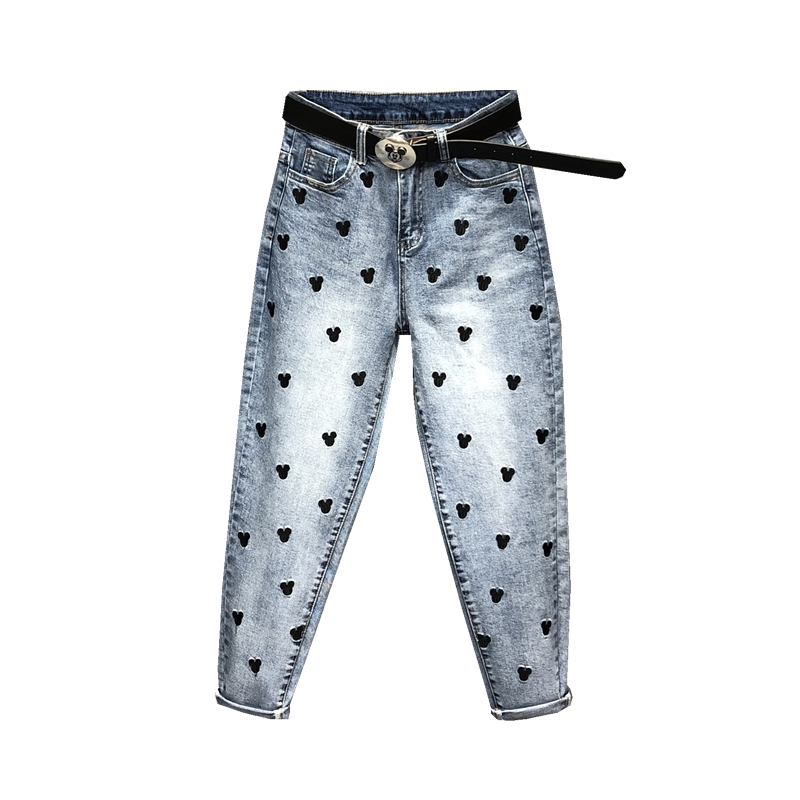 Embroidery Jeans Pants Trousers Mickey Cartoon-Pattern High-Waist Women's New Spring
