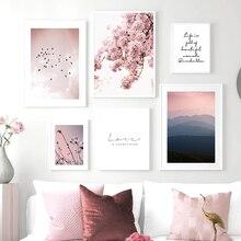Розовый цветок вишни картина плакат в скандинавском стиле Nordic пейзаж с птичьим принтом настенный художественный холст для живописи Декор в...