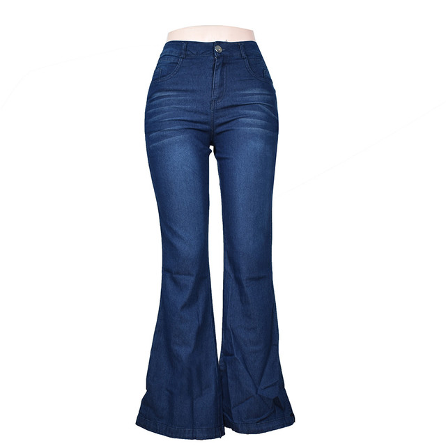 Womens Sexy Large size Wide Leg Jeans For Women Mom Flare Pants With Hight Waisted Stretch Denim Button Female 2021 New #S Jeans 4