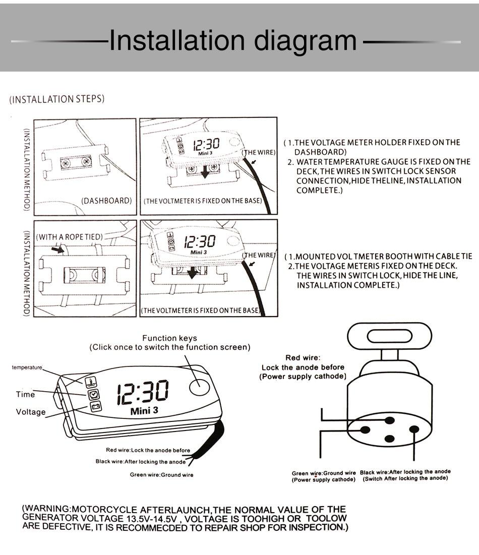 basic motorcycle wiring diagram voltmeter alconstar digital multifunction universal motorcycle led display  universal motorcycle led display
