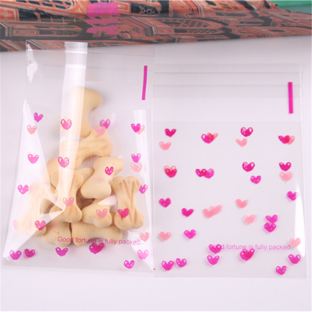Wholesale 50Pcs/lot Lovely Sweet Heart Cookie Candy Gift Packaging Bags Self Adhesive Party Favors For Biscuit