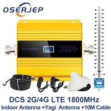 จอแสดงผล LCD GSM Repeater 1800Mhz 4G Cellular สัญญาณเครื่องขยายเสียง booster DCS 1800 Signal + เสาอากาศ Yagi