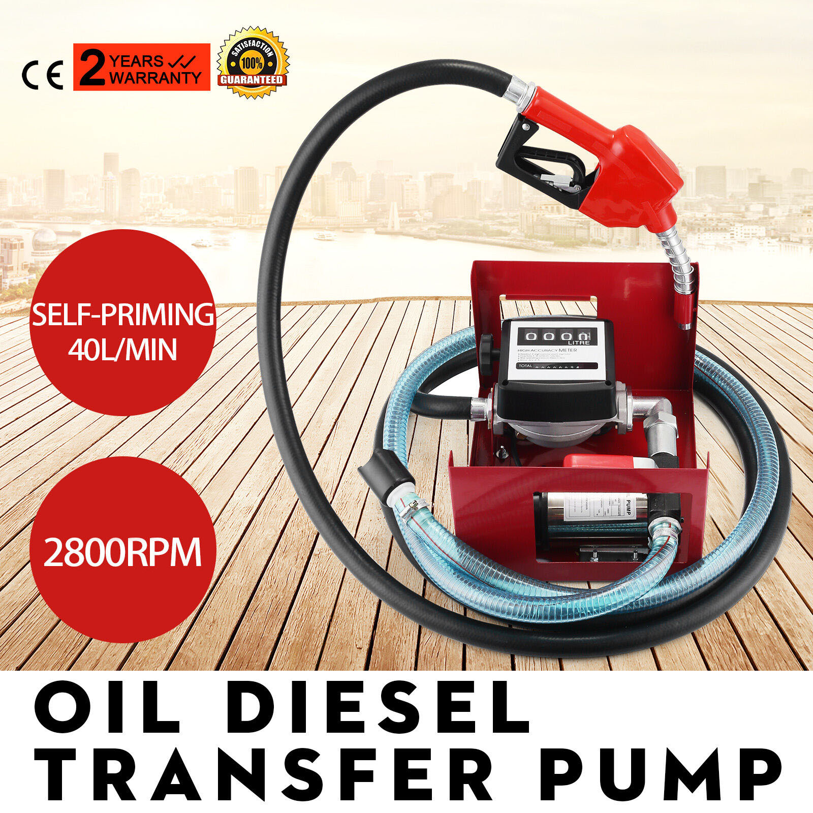 H/D Self Priming Electric Oil Pump Transfer Bio Fuel Oil Diesel 230v 40L/Min New