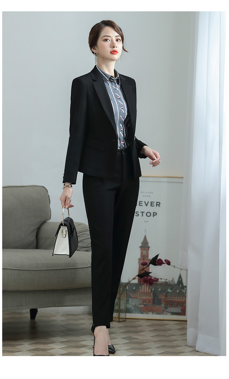 2019 new autumn high quality suit set Slim trouser suit Temperament long sleeve single button blazer Professional suit two-piece