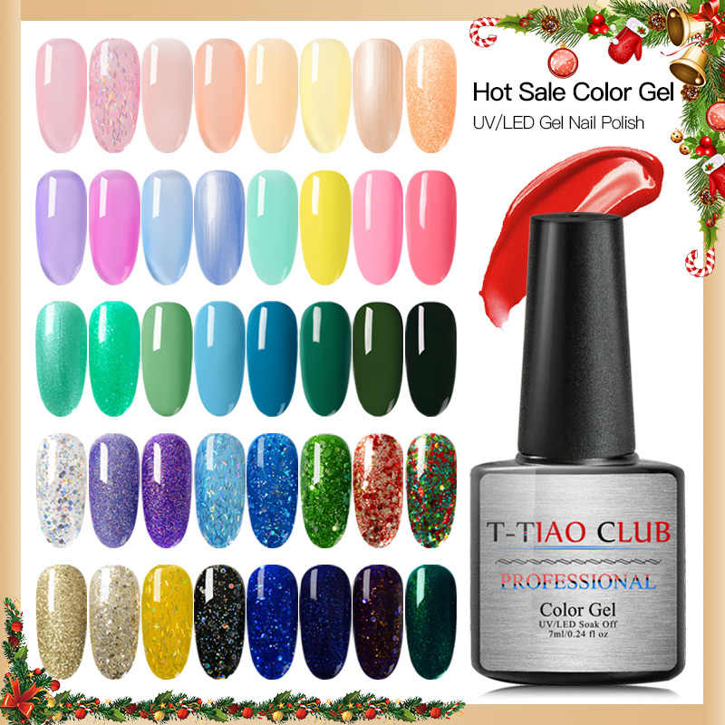 T-TIAO CLUB Gel esmalte de uñas Color puro semipermanente Base superior capa UV lámpara LED para barniz para manicura pintura híbrida brillo Gel