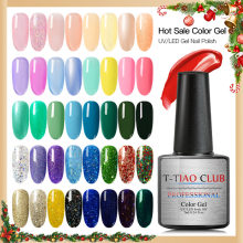 T-TIAO Klub Gel Cat Kuku Warna Murni Semi Permanen Base Top Coat UV LED Lamp untuk Manikur Cat Pernis Hybrid glitter Gel(China)