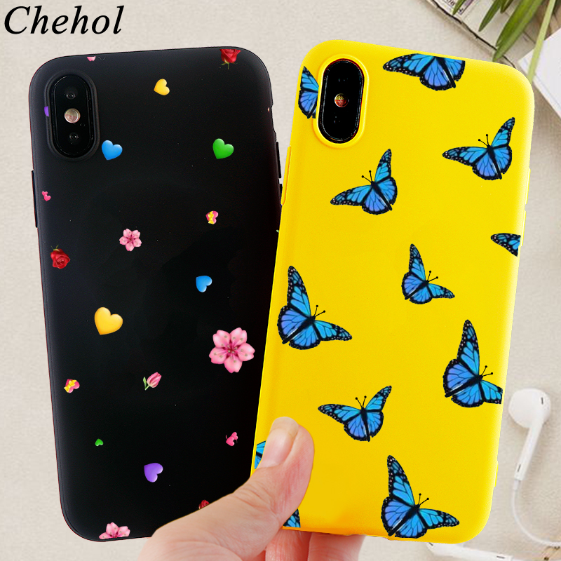 Fashion Floral Phone Cases for IPhone 11 Pro 8 7 6s Plus X XS MAX XR Case Butterfly Soft Silicone Fitted Back Cover Accessories