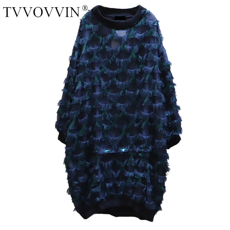 Tassel Loose Dress Patchwork Women 2020 Autumn Casual Fashion New Style Temperament O Neck Full Sleeve Women Dress ZP2748