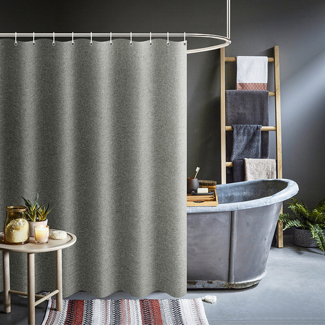 Thickened Imitation Linen Shower Curtains Solid Hotel High Quality Waterproof Bathroom Curtain for Hotel & Home