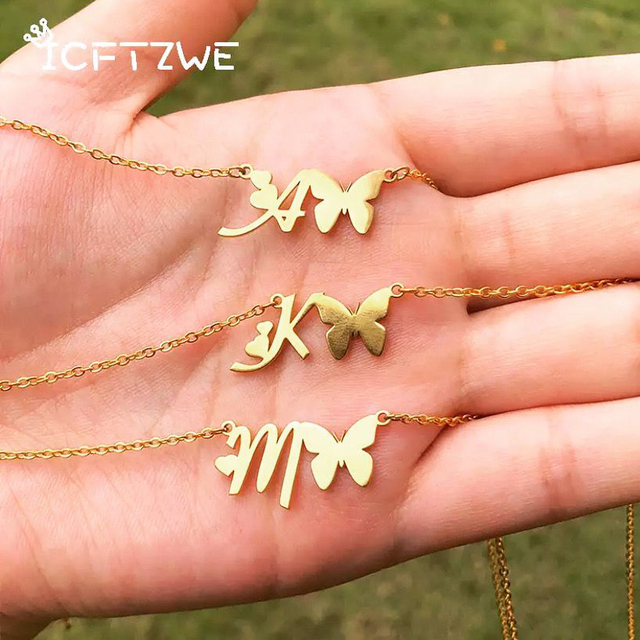 Initial Necklace With Butterfly For Women Stainless Steel Gold A-Z Letters Butterfly Necklace Femme Best Friend Jewelry BFF Gift 5