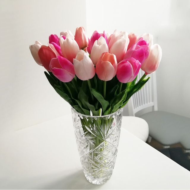 10pcs Artificial Flowers Garden Tulips Real Touch Flowers Tulp Bouquet Mariage For Home Party Wedding Decorations Fake Flower 2