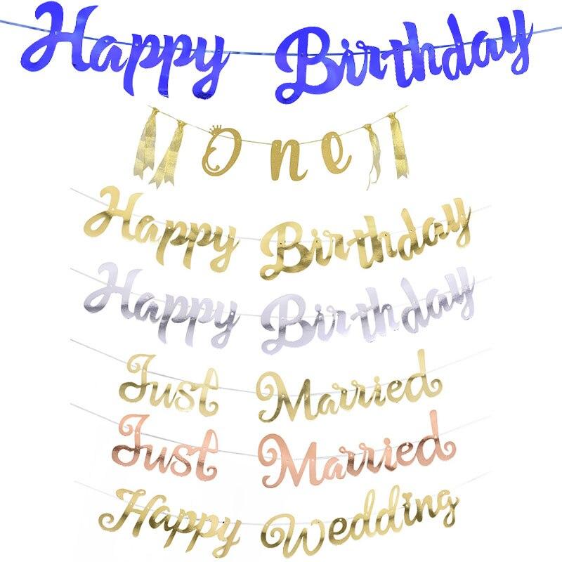 Золотой, серебряный баннер с днем рождения, гирлянда для свадьбы, вечеринки, подвесной бандаж, один ребенок, день рождения, декор с флагами
