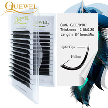 QuewelขนตาExtensionสำหรับมืออาชีพEllipse Flat Lashปลายแยกอาชีพผ้าไหมนุ่มQuewelขนตาC/D curl