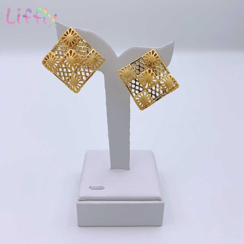 Liffly Dubai conjuntos de joyas de oro para mujer, collar grande, cuentas africanas, conjunto de joyería, traje de novia nigeriana, joyería